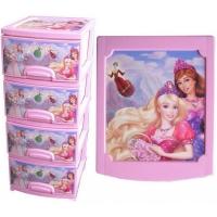 """Комод пластиковый """"Декор Принцессы"""" 4 секции розовый"""